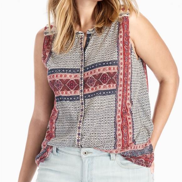 7d8a3873f705 Lucky Brand Tops - Lucky Brand Border Print Button Up Tank Top Blouse